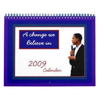 Recuerdo 2009 de presidente Obama Calendarios De Pared