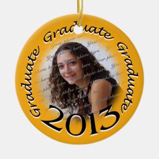 Recuerdo 2013 de la foto del graduado adorno navideño redondo de cerámica