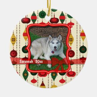 Recuerdo anticuado de la foto de los ornamentos adorno navideño redondo de cerámica