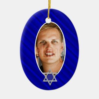Recuerdo azul de la foto del mitzvah de la barra adornos