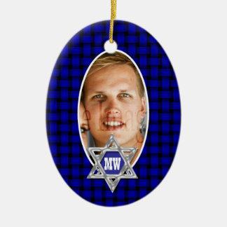 Recuerdo azul de la foto del mitzvah de la barra ornamente de reyes