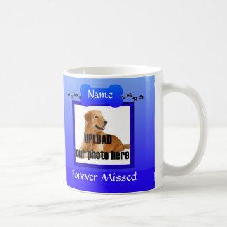 Recuerdo azul del monumento del perro taza de café
