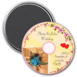 Recuerdo CD del boda de la etiqueta Imán Redondo 7 Cm