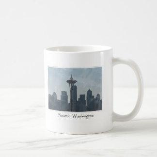 Recuerdo céntrico de los regalos de Seattle Taza Básica Blanca