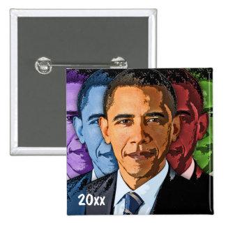 Recuerdo cobrable anticuado del recuerdo de Barack Pin Cuadrado
