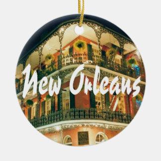 Recuerdo conmemorativo de New Orleans Adorno Navideño Redondo De Cerámica