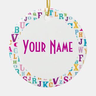 Recuerdo conocido personalizado del regalo del adorno navideño redondo de cerámica
