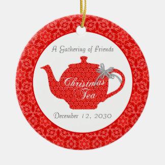 Recuerdo de encargo de la fiesta del té del adorno navideño redondo de cerámica