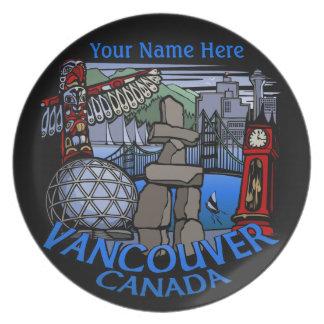 Recuerdo de encargo de Vancouver Canadá de la Plato De Cena