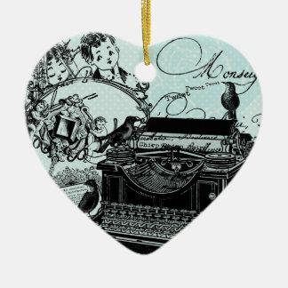 Recuerdo de encargo del corazón de las letras de a ornamentos de navidad