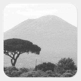 Recuerdo de Italia del volcán del monte Vesubio Pegatina Cuadrada