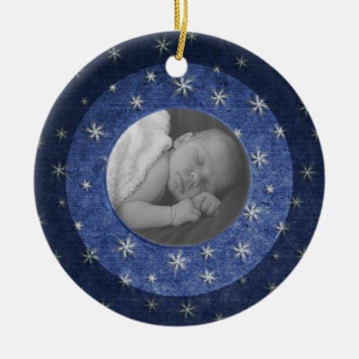Recuerdo de la foto de la noche estrellada adorno navideño redondo de cerámica