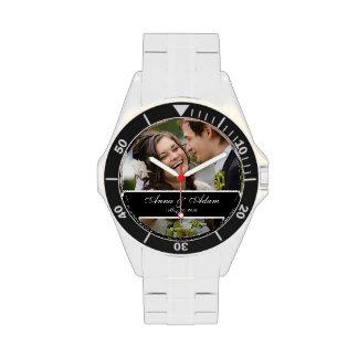 Recuerdo de la foto del boda reloj de mano