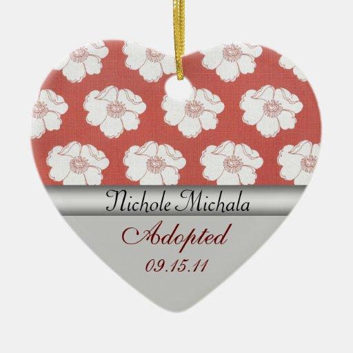 Recuerdo de la invitación de la adopción de la adorno navideño de cerámica en forma de corazón