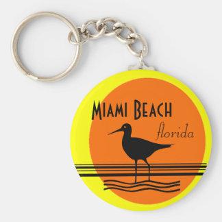 Recuerdo de la Playa-Puesta del sol de Miami Llavero Redondo Tipo Pin