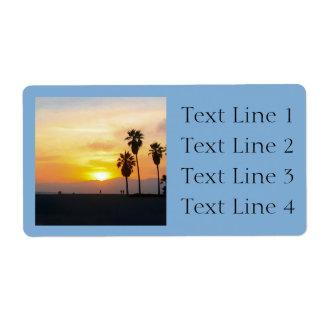 Recuerdo de la puesta del sol de California de la Etiqueta De Envío
