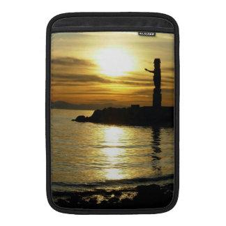 Recuerdo de la puesta del sol del paisaje marino d funda macbook air