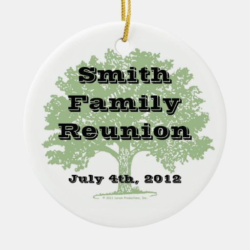 Recuerdo de la reunión de familia adorno redondo de cerámica