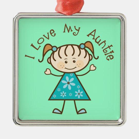 Recuerdo de la tía ornamento de tía Gift I Love My Adorno Navideño Cuadrado De Metal