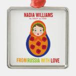 Recuerdo de Matryoshka del ruso del ornamento de Adorno Cuadrado Plateado