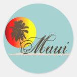Recuerdo de Maui Hawaii Pegatinas Redondas