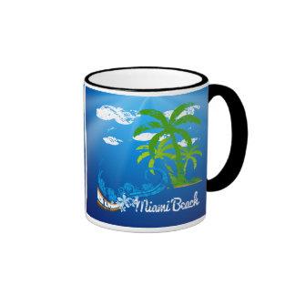 Recuerdo de Miami Beach la Florida Taza A Dos Colores