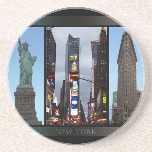 Recuerdo de New York City del práctico de costa de Posavasos Personalizados