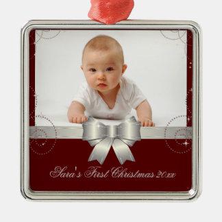 Recuerdo de plata de la cinta adorno navideño cuadrado de metal