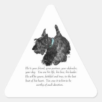 Recuerdo de Terrier del escocés - perro MASCULINO Pegatina Triangular