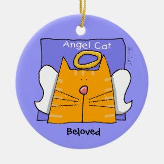 Recuerdo del ángel del gato de Tabby Adorno Navideño Redondo De Cerámica