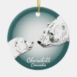 Recuerdo del arte del oso polar del ornamento de adorno navideño redondo de cerámica