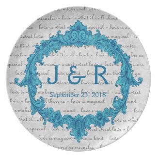 Recuerdo del boda con el marco azul del vintage plato de cena