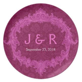 Recuerdo del boda con el marco rosado del vintage plato