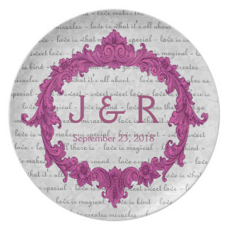 Recuerdo del boda con el marco rosado del vintage plato de cena