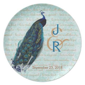 Recuerdo del boda con el pavo real azul plato de cena