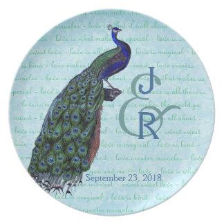 Recuerdo del boda con el pavo real azul y verde plato para fiesta
