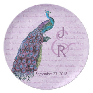 Recuerdo del boda con el pavo real del oro platos