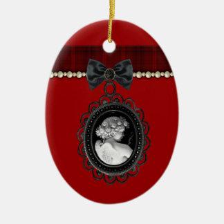 Recuerdo del boda del gótico del camafeo y de la adorno navideño ovalado de cerámica
