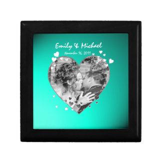 Recuerdo del boda del marco de la foto del corazón cajas de joyas