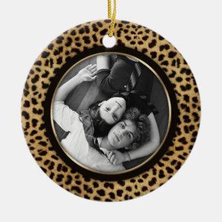Recuerdo del boda del ornamento de la foto del adorno redondo de cerámica