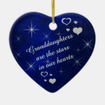 Recuerdo del corazón de la estrella de la nieta ornamentos de navidad