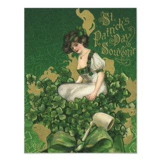 """Recuerdo del día de St Patrick del vintage, Invitación 4.25"""" X 5.5"""""""