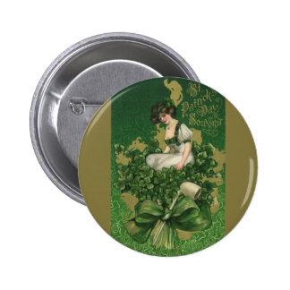 Recuerdo del día de St Patrick del vintage, Pin Redondo De 2 Pulgadas