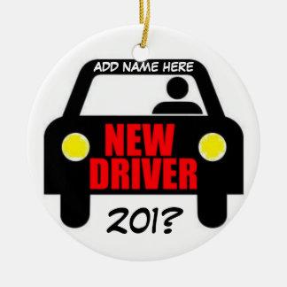 Recuerdo del entrenamiento de conductores adorno navideño redondo de cerámica