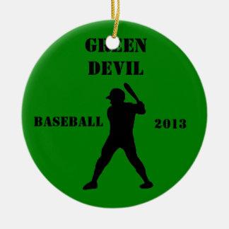 Recuerdo del equipo de béisbol adorno navideño redondo de cerámica