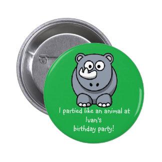 Recuerdo del favor de fiesta del botón del rinocer pin redondo de 2 pulgadas