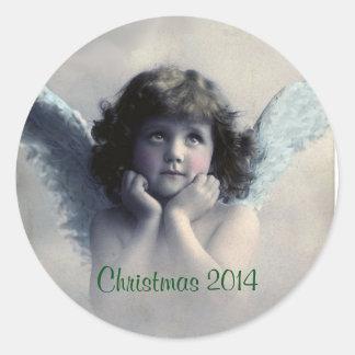 Recuerdo del navidad. Ángel del vintage Pegatina Redonda