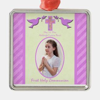 Recuerdo del ornamento de la foto de la comunión s ornamentos de navidad