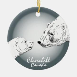 Recuerdo del oso polar del ornamento de Churchill Adorno Navideño Redondo De Cerámica