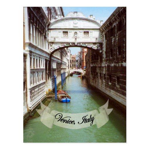 Recuerdo del puente de Venecia Italia de suspiros Postal